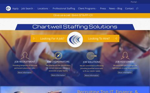 Screenshot of Home Page chartwellstaff.com - CA, CO, GA, IL, NV, NJ, NY, NC, OH, PA, TX, UT and WA Staffing Agency with 42 locations - captured Jan. 27, 2016