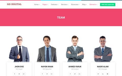 Screenshot of Team Page godigitallab.com - Team - Go Digital Lab - captured July 20, 2018