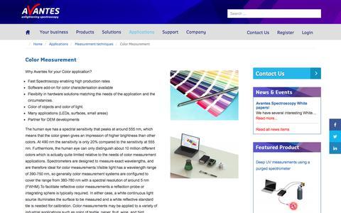 Screenshot of avantes.com - Color Measurement - Avantes - captured Sept. 1, 2017