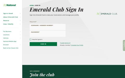Screenshot of Login Page nationalcar.com - Emerald Club Sign In  | National Car Rental - captured Aug. 18, 2018