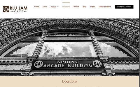 Screenshot of Locations Page blujamcafe.com - Locations - Blu Jam Café - captured Sept. 27, 2018