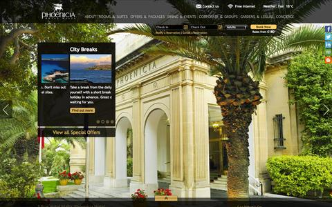 Screenshot of Home Page phoeniciamalta.com - 5 Star Hotels in Malta | Phoenicia Luxury Hotel Valletta Malta - captured Oct. 1, 2014