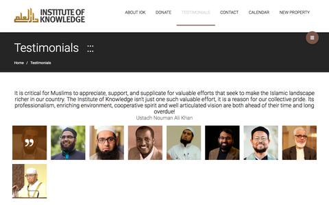 Screenshot of Testimonials Page instituteofknowledge.com - Testimonials – Institute of Knowledge - captured Aug. 6, 2016