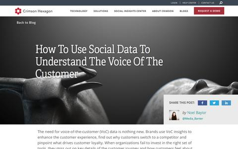 Screenshot of Blog crimsonhexagon.com - Understand the Voice of the Customer With Social Data - captured March 6, 2018