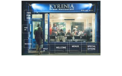 Screenshot of Home Page kyreniarestaurant.com - Kyrenia Restaurant | Greek Cypriot Menu | Mid Week Specials | Two for One | Reading, Berkshire - captured Sept. 30, 2014