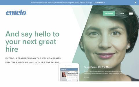 Screenshot of Home Page entelo.com - Recruitment Software | Entelo - captured Oct. 9, 2017