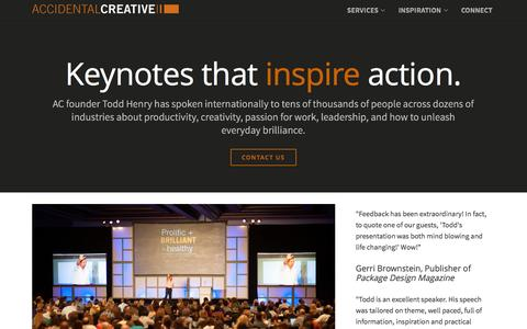 Screenshot of Services Page accidentalcreative.com - AC Speaking: Keynotes by Todd Henry on Creativity and Leadership - captured Oct. 20, 2015