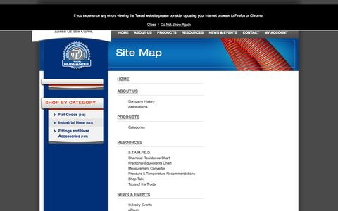 Screenshot of Site Map Page texcelrubber.com captured Oct. 26, 2014