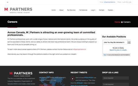 Screenshot of Jobs Page mpartners.ca - Careers - captured Feb. 2, 2016