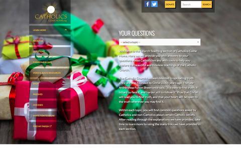 Screenshot of FAQ Page catholicscomehome.org - Church Teaching | Catholics Come Home - captured Dec. 7, 2015