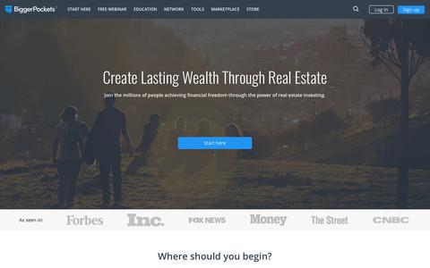 Screenshot of Home Page biggerpockets.com - BiggerPockets: The Real Estate Investing Social Network - captured Aug. 2, 2018