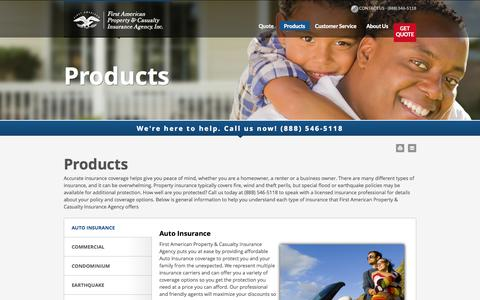 Screenshot of Products Page fapcia.com - Products - First American Property and Casualty Insurance Agency - captured Oct. 6, 2014