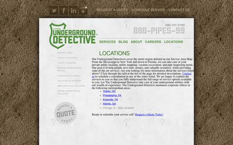 Screenshot of Locations Page undergrounddetective.com - Locations - - captured Oct. 9, 2014