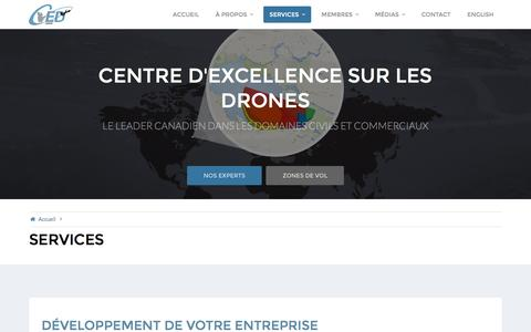 Screenshot of Services Page cedalma.com - Services – Centre d'excellence sur les drones - captured Nov. 1, 2016
