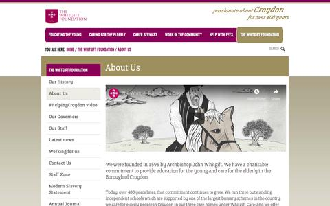 Screenshot of About Page whitgiftfoundation.co.uk - About Us | The Whitgift Foundation - captured Nov. 19, 2018