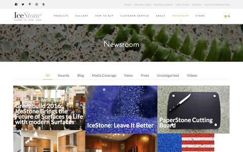 Screenshot of Press Page icestoneusa.com - Newsroom | IceStone - captured Oct. 14, 2017