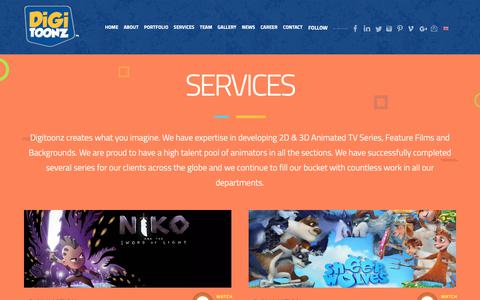 Screenshot of Services Page digitoonz.com - Digitoonz: Services - 2D Classical and Digital Animation Production Studio | Flash Animation | Toon Boom Harmony Animation - captured Oct. 9, 2018