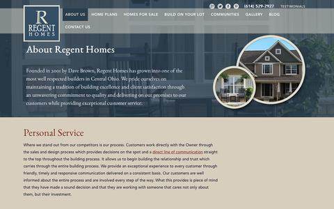 Screenshot of About Page regent-homes.com - Columbus and Central Ohio Inventory Home Builder   About Regent Homes - captured Feb. 25, 2016