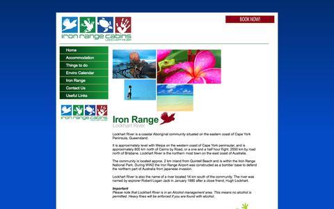 Screenshot of Home Page lockhartriver.com.au - Lockhart River - Accommodation at Iron range cabins - captured Oct. 2, 2014
