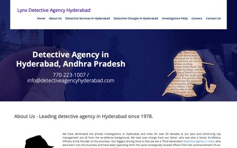 Screenshot of About Page detectiveagencyhyderabad.com - Detective agency in hyderabad, Private detectives in hyderabad, detectives in hyderabad, Detective A - captured Sept. 30, 2018