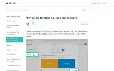 Screenshot of Support Page versal.com - Navigating through courses and lessons – Help center - captured Dec. 3, 2019
