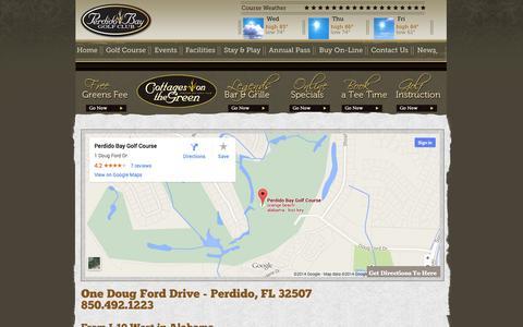 Screenshot of Maps & Directions Page perdidobaygolf.com - Golf Club & Golf Course Pensacola, FL | Perdido Bay Golf - captured Oct. 2, 2014