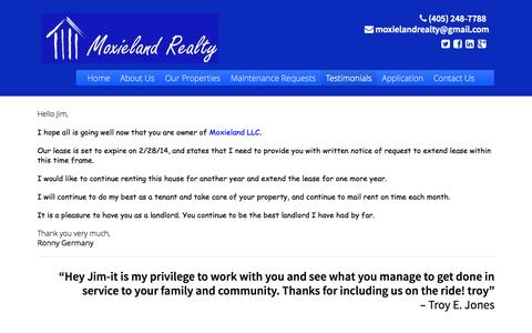 Screenshot of Testimonials Page moxieland.com - Testimonials - Moxieland LLC - captured Oct. 9, 2014
