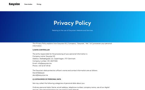 Screenshot of Privacy Page easysize.me - Privacy Policy | Easysize - captured April 15, 2019