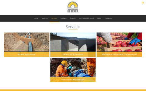 Screenshot of Services Page mbb.co.za - Services – MBB Consulting Engineers - captured Oct. 1, 2018