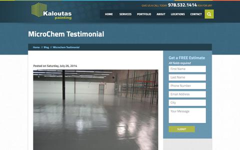 Screenshot of Testimonials Page kaloutas.com - MicroChem Testimonial |  Kaloutas Painting - captured Sept. 28, 2018