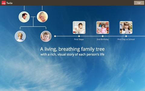 Screenshot of Home Page twile.com - A living, breathing family tree - captured Dec. 13, 2014