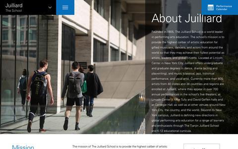 Screenshot of About Page juilliard.edu - About Juilliard at The Juilliard School - captured Sept. 24, 2018