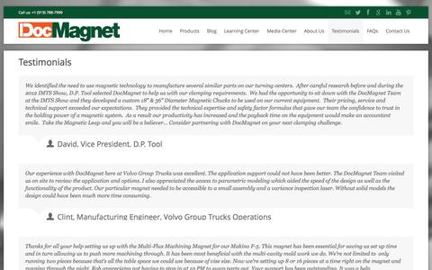 Screenshot of Testimonials Page docmagnet.com - Testimonials from our Customers   DocMagnet - captured Oct. 6, 2014