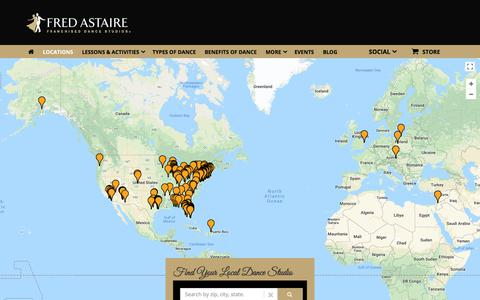 Screenshot of Locations Page fredastaire.com - Locations - Fred Astaire Dance Studio - captured March 4, 2018