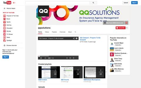Screenshot of YouTube Page youtube.com - qqsolutions  - YouTube - captured Oct. 22, 2014