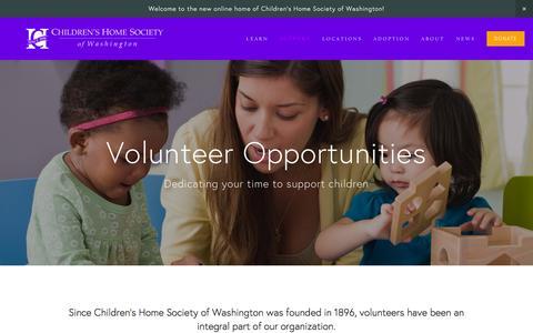 Screenshot of Support Page childrenshomesociety.org - Volunteer — Children's Home Society of Washington - captured Nov. 5, 2016