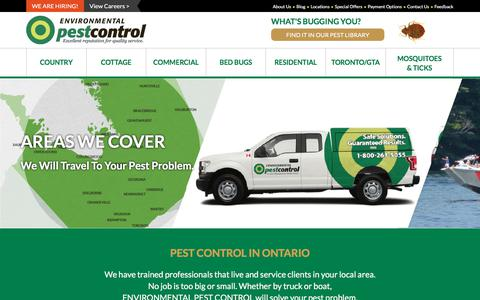 Screenshot of Locations Page environmentalpestcontrol.ca - Extermination Service Area | Environmental Pest Control - captured July 20, 2018