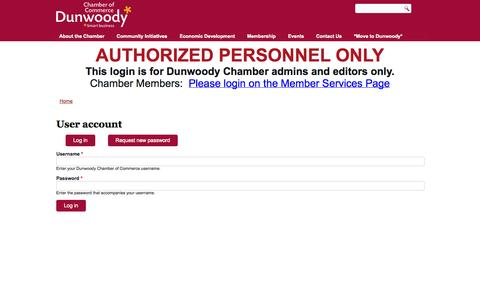 Screenshot of Login Page dunwoodycommerce.org - User account | Dunwoody Chamber of Commerce - captured Oct. 5, 2014