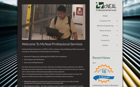 Screenshot of Home Page mcnealpro.com - McNeal Professional Services - captured Feb. 12, 2016