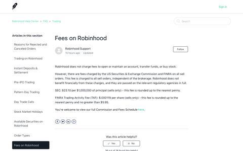 Fees on Robinhood  – Robinhood Help Center