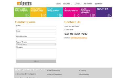 Screenshot of Contact Page hrdynamics.com.au - Human Resource Dynamics - Effective Employee Management - CONTACT - captured Sept. 30, 2018