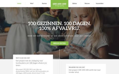 Screenshot of Home Page 100-100-100.nl - 100 gezinnen. 100 dagen. 100% afvalvrij. Kan dat? - captured April 15, 2016