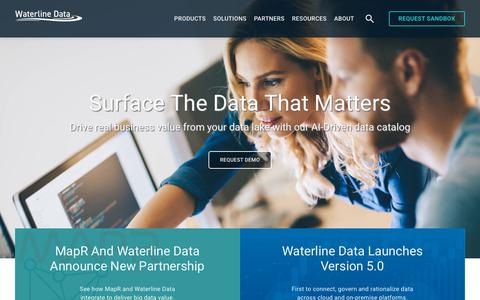 Screenshot of Home Page waterlinedata.com - Surface the Data that Matters - Waterline Data Catalog - captured Feb. 7, 2019