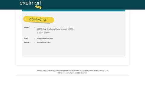 Screenshot of Contact Page exelmart.com - Online Store Lucknow, Online Shopping Platform, Online Discounts, Online Shopping, Chikan Lucknow, Apparel Lucknow, Gift Items Lucknow, Furnishers Lucknow, Jewellers Lucknow, Footwear Lucknow | Exelmart.com - captured Oct. 27, 2014