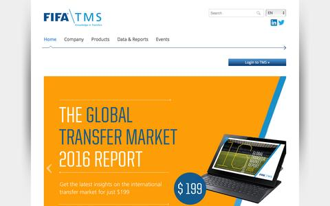Screenshot of Home Page fifatms.com - The ultimate expert in the football transfer market - FIFA TMS - captured Feb. 9, 2016