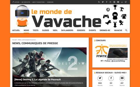 Screenshot of Press Page vavache.fr - News, communiqués de presse - Vavache.fr - captured June 27, 2017