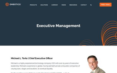 Screenshot of Team Page embotics.com - Embotics - Management Team - captured Oct. 12, 2018