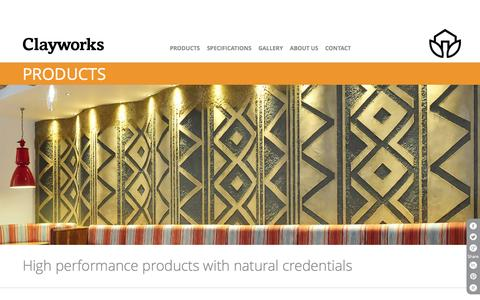 Screenshot of Products Page clay-works.com - Breathable, moisture regulating Clay Plasters UK - captured Oct. 28, 2014