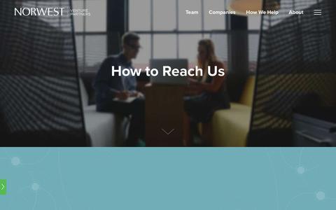 Screenshot of Contact Page nvp.com - Contact • Norwest Venture Partners - captured Oct. 22, 2017