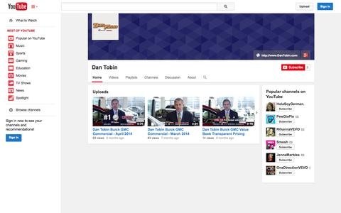 Screenshot of YouTube Page youtube.com - Dan Tobin  - YouTube - captured Oct. 23, 2014